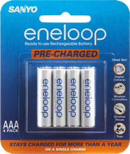 Eneloop Pre-Chrged Rechargeable AAA Batteries (4-Pack)