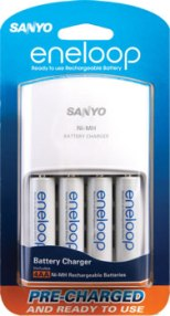 Eneloop 4 AA Pre-Charged Rechargeable Batteries With 110/220v Worldwide Auto Voltage Charger
