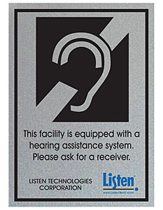(Listen) Ada Compliance Signage Kit, Includes Ada Plaque And Window Sticker