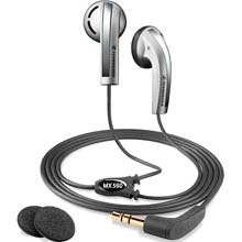 Mx-560b Stereo Earbud Headphones With Basswind System - Silver