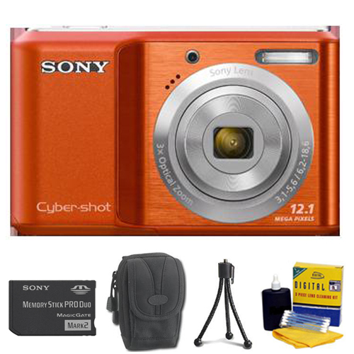 DSC-S2100 Cyber-Shot Digital Camera (Orange) • 2GB Memory Stick Pro Duo • Camera/Lens Cleaning Kit• Table-Top Tripod• Deluxe Case