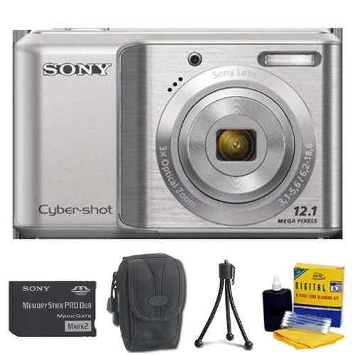 DSC-S2100 Cyber-Shot Digital Camera (Silver) • 1GB Memory Stick Pro Duo • Camera/Lens Cleaning Kit• Table-Top Tripod• Deluxe Case