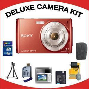 DSC-W510 DIGITAL CAMERA RED with Deluxe Accessory Kit (8GB Mem Card, Card Reader, Carrying Case, Spare Battery & More) *FREE SHIPPING*