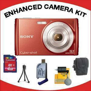 DSC-W510 DIGITAL CAMERA RED with Enhanced Accessory Kit (4GB Mem Card, Card Reader, Carrying Case, Tripod & Cleaning Kit) *FREE SHIPPING*
