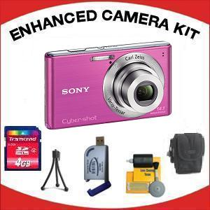 DSC-W530 DIGITAL CAMERA PINK with Enhanced Accessory Kit (4GB Mem Card, Card Reader, Carrying Case, Tripod & Cleaning Kit) *FREE SHIPPING*