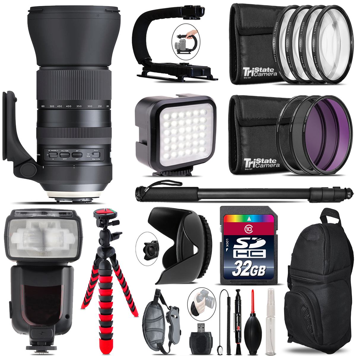 Tamron 150-600mm G2 for Canon - Video Kit + Pro Flash - 32GB Accessory Bundle *FREE SHIPPING*