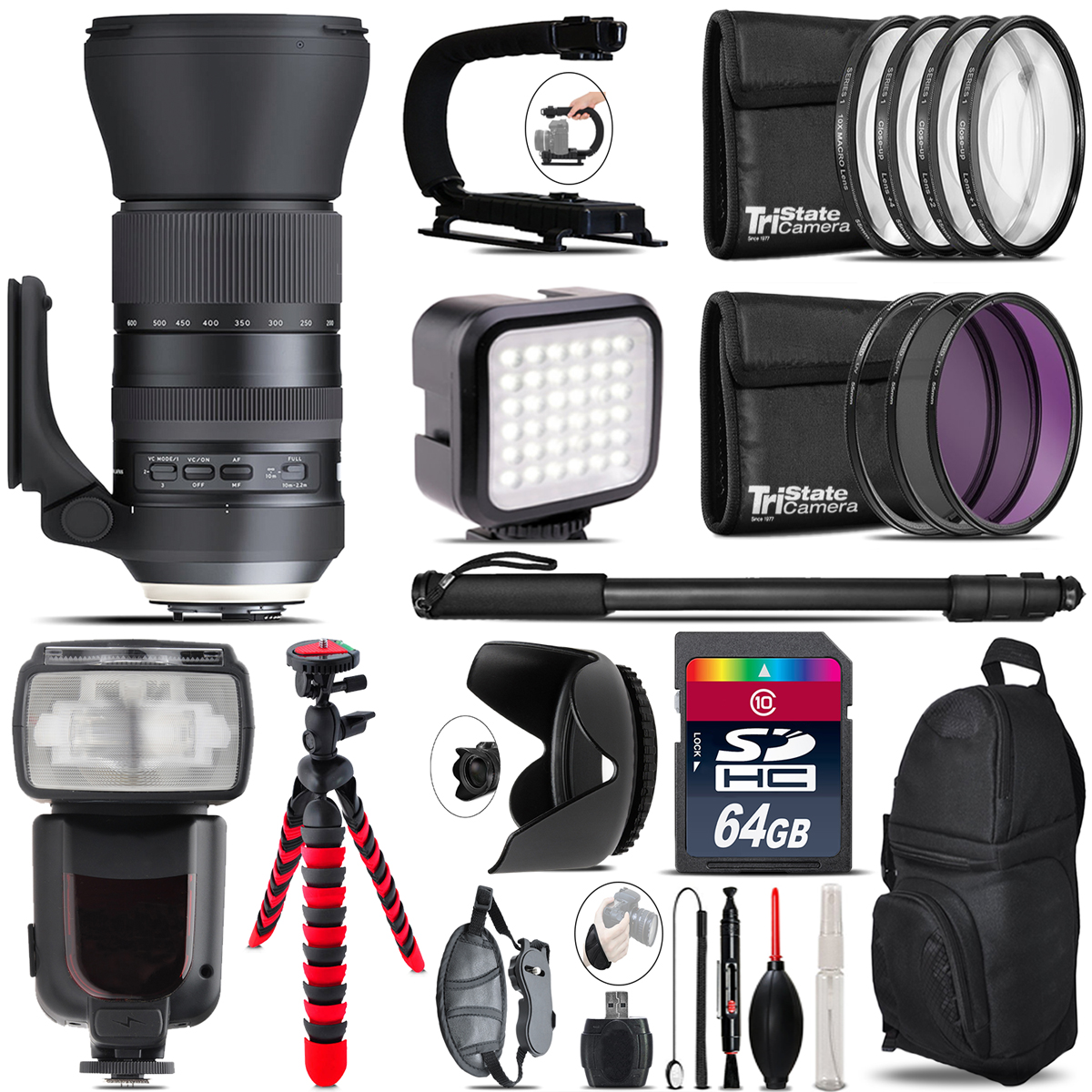 Tamron 150-600mm G2 for Canon - Video Kit + Pro Flash - 64GB Accessory Bundle *FREE SHIPPING*