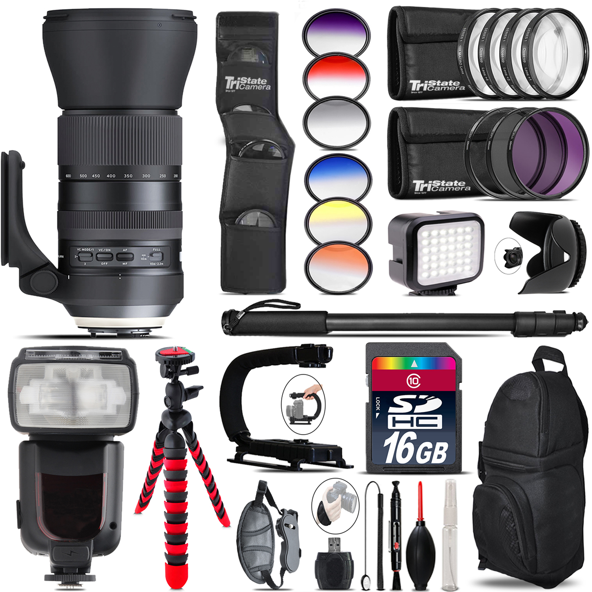 Tamron 150-600mm G2 for Canon + Pro Flash + LED Light - 16GB Accessory Bundle *FREE SHIPPING*