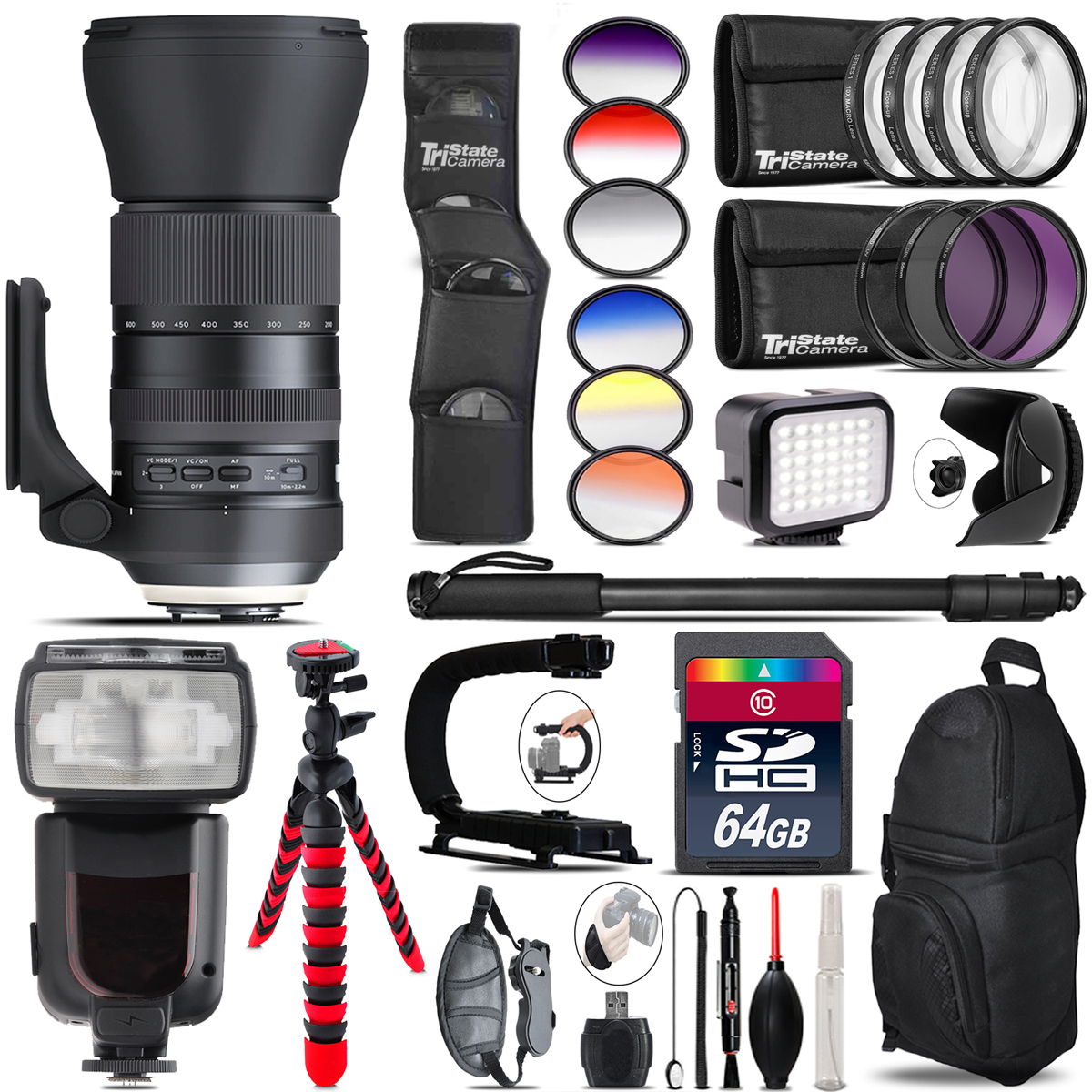 Tamron 150-600mm G2 for Canon + Pro Flash + LED Light - 64GB Accessory Bundle *FREE SHIPPING*