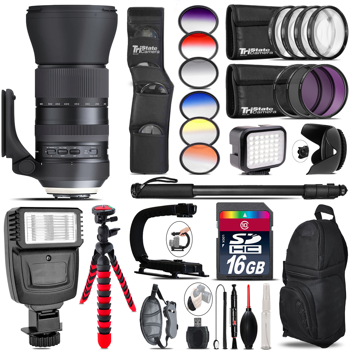 Tamron 150-600mm G2 for Canon + Color Set + LED Light - 16GB Accessory Bundle *FREE SHIPPING*