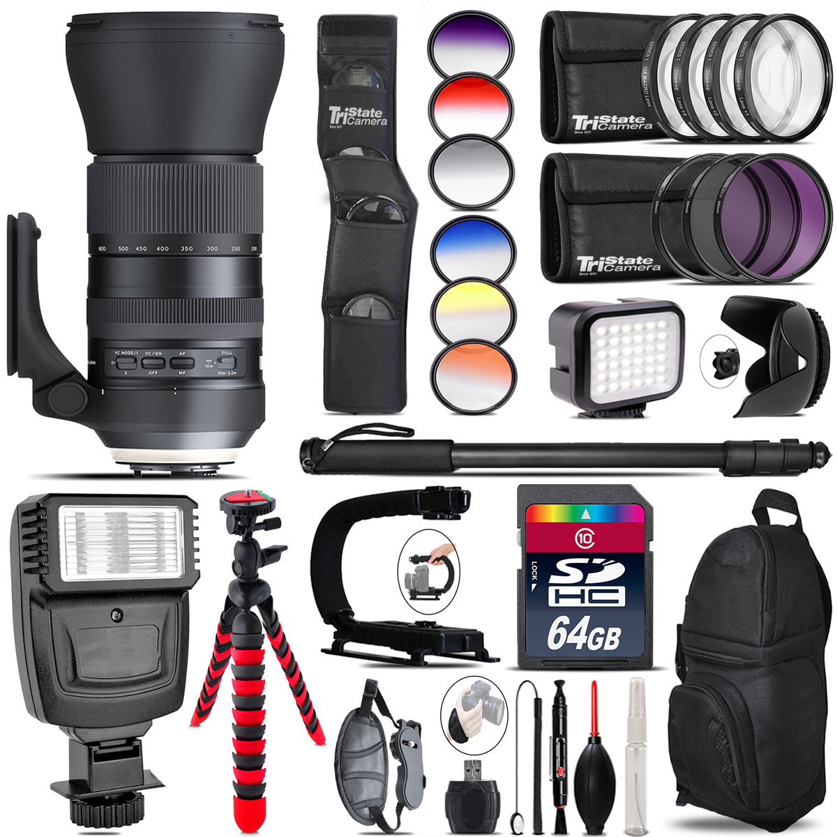 Tamron 150-600mm G2 for Canon + Color Set + LED Light - 64GB Accessory Bundle *FREE SHIPPING*