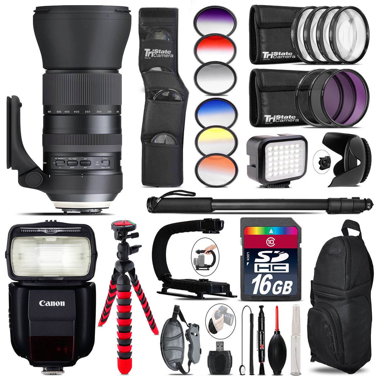 Tamron 150-600mm G2 for Canon + Speedlite 430EX III + LED - 16GB Accessory Kit *FREE SHIPPING*