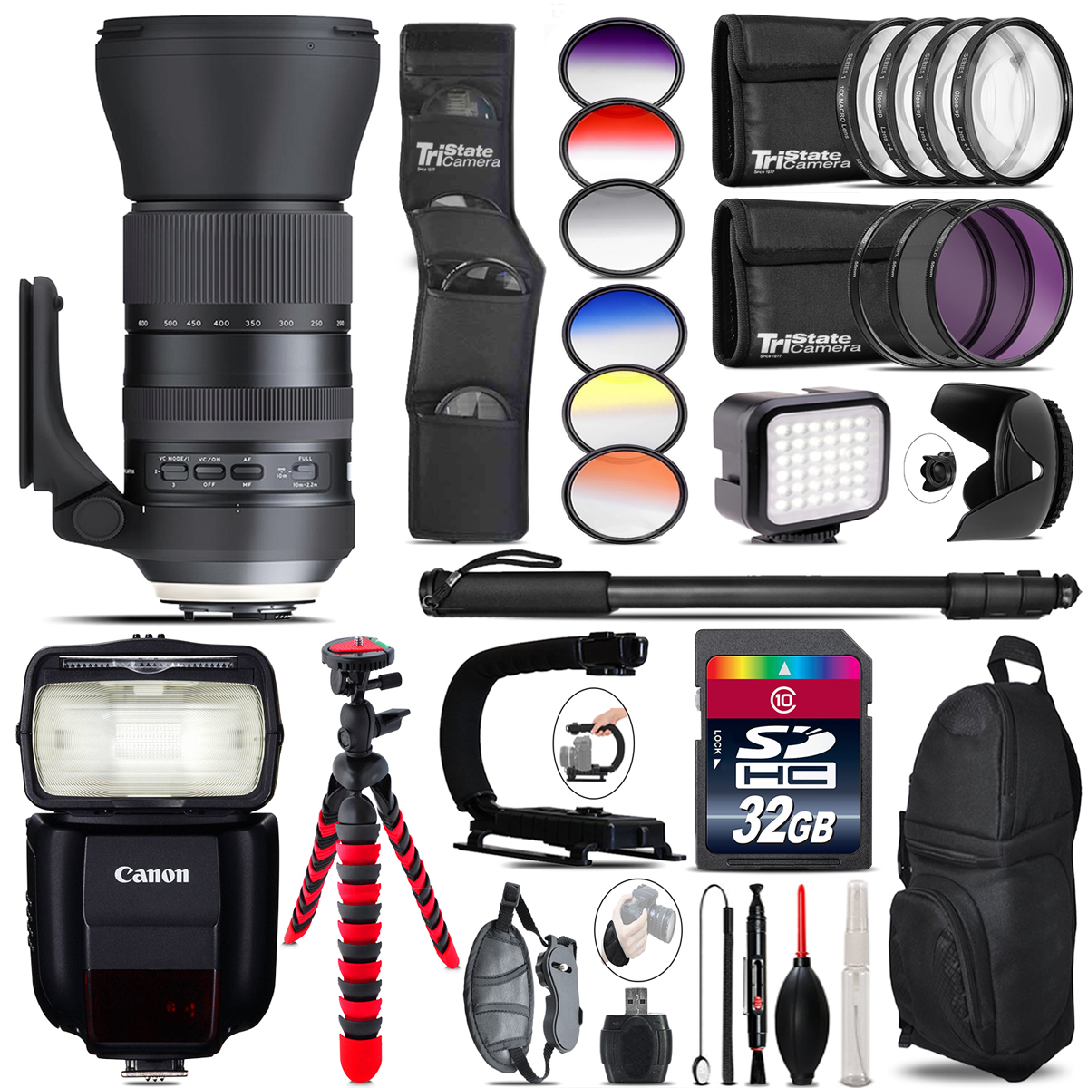 Tamron 150-600mm G2 for Canon + Speedlite 430EX + LED - 32GB Accessory Kit *FREE SHIPPING*