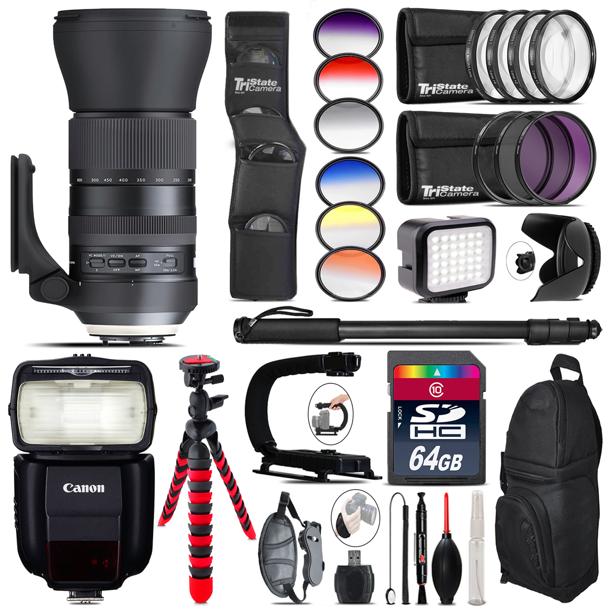 Tamron 150-600mm G2 for Canon + Speedlite 430EX + LED - 64GB Accessory Kit *FREE SHIPPING*