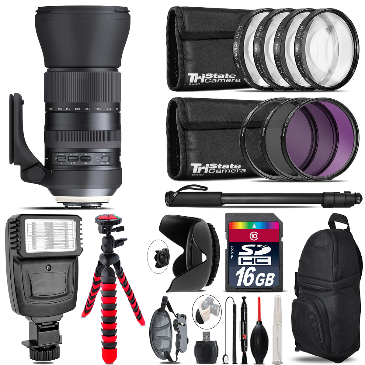 Tamron 150-600mm G2 for Nikon + Flash + Tripod & More - 16GB Accessory Kit *FREE SHIPPING*