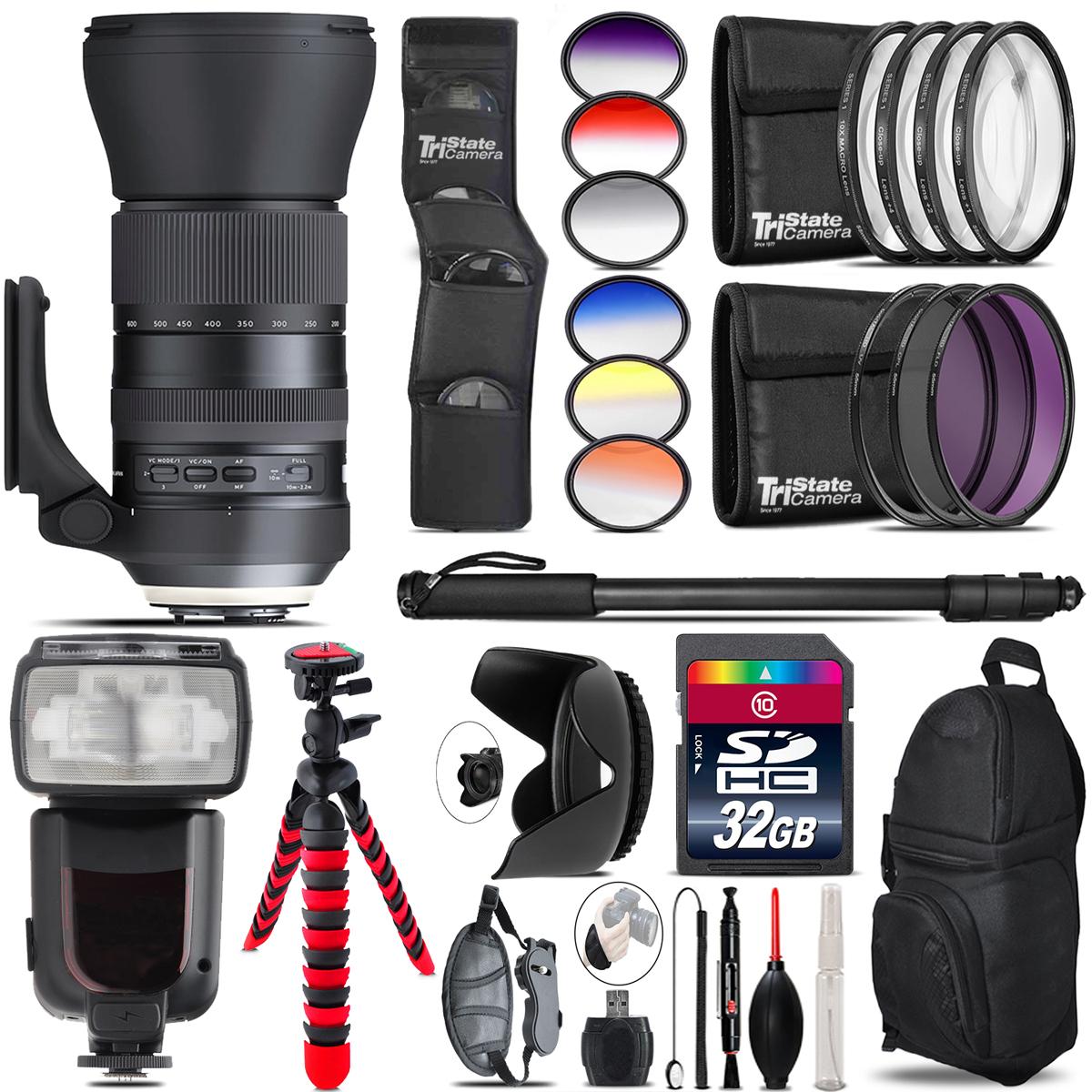 Tamron 150-600mm G2 for Nikon + Pro Flash + Filter Kit - 32GB Accessory Kit *FREE SHIPPING*