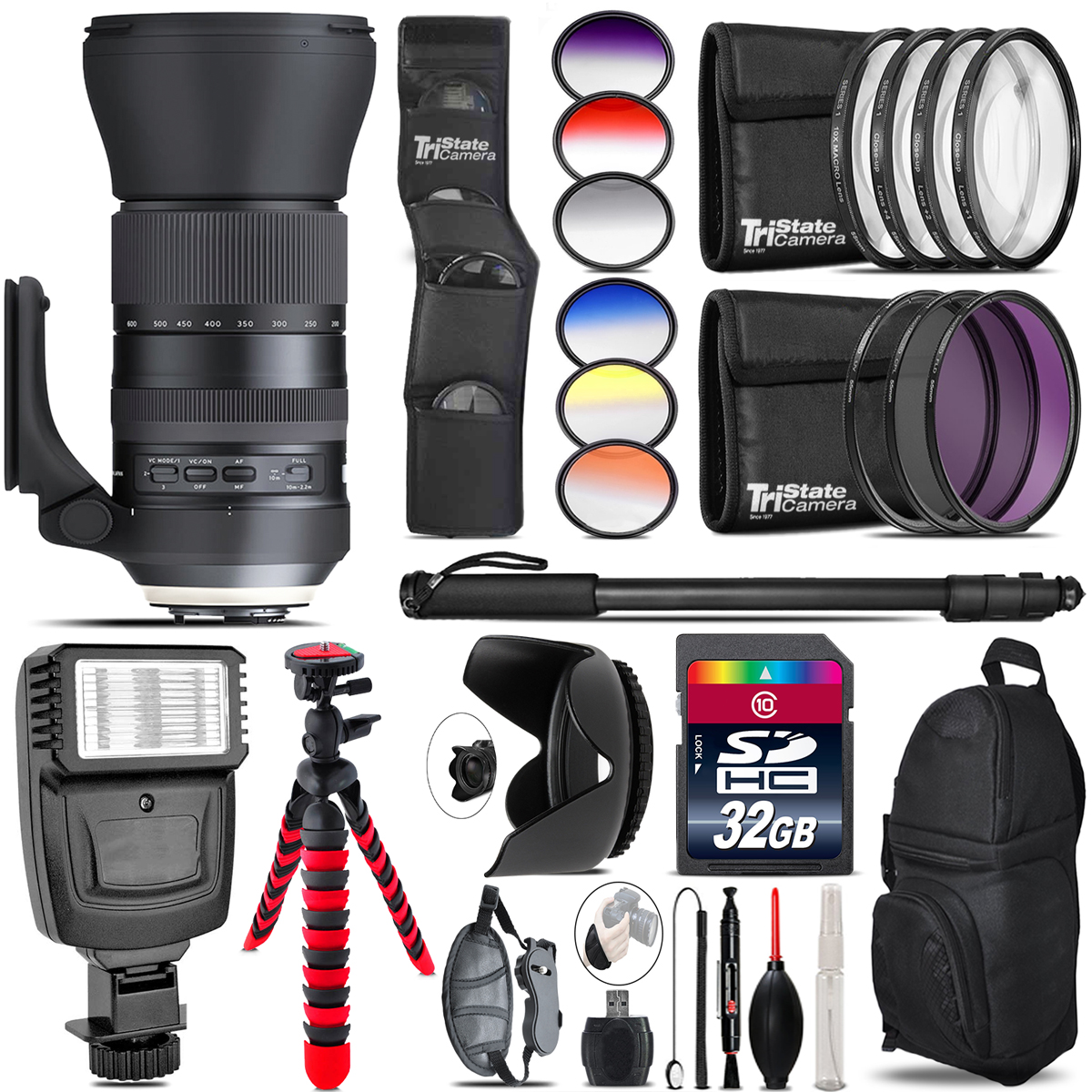 Tamron 150-600mm G2 for Nikon + Flash + Color Filter Set - 32GB Accessory Kit *FREE SHIPPING*