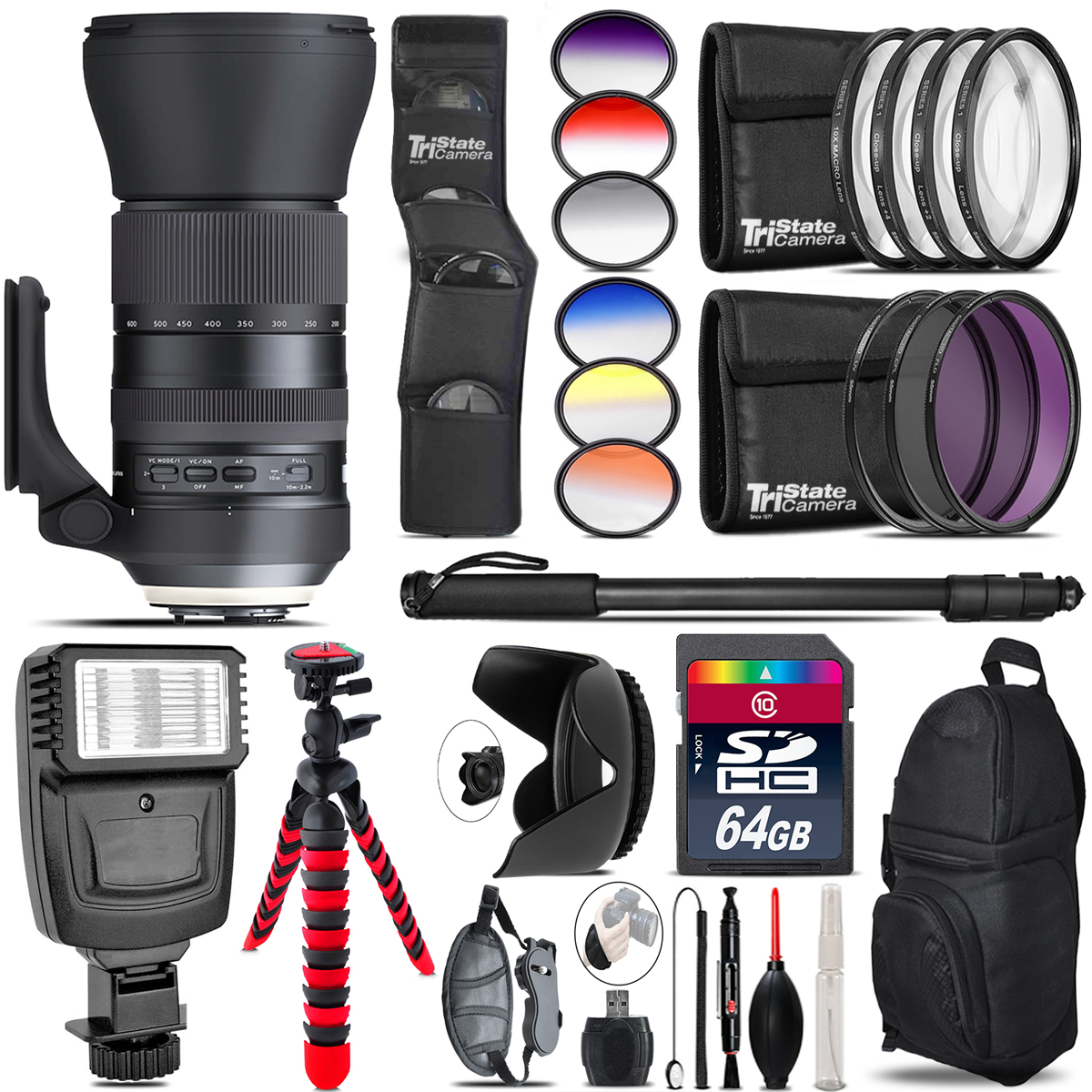 Tamron 150-600mm G2 for Nikon + Flash + Color Filter Set - 64GB Accessory Kit *FREE SHIPPING*