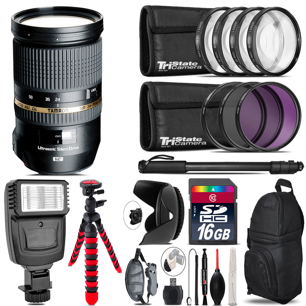 Tamron 24-70mm Lens for Canon + Flash +  Tripod & More - 16GB Accessory Kit *FREE SHIPPING*