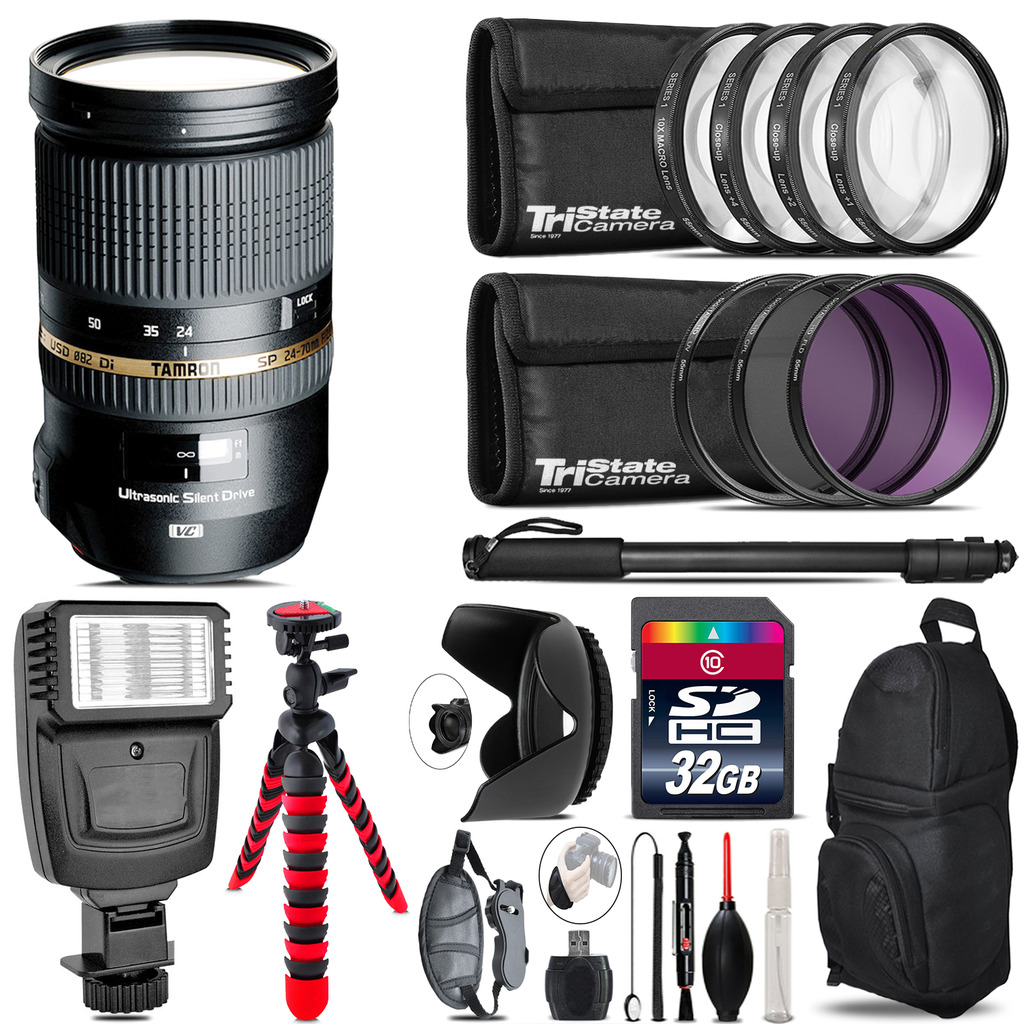 Tamron 24-70mm Lens for Canon + Flash +  Tripod & More - 32GB Accessory Kit *FREE SHIPPING*