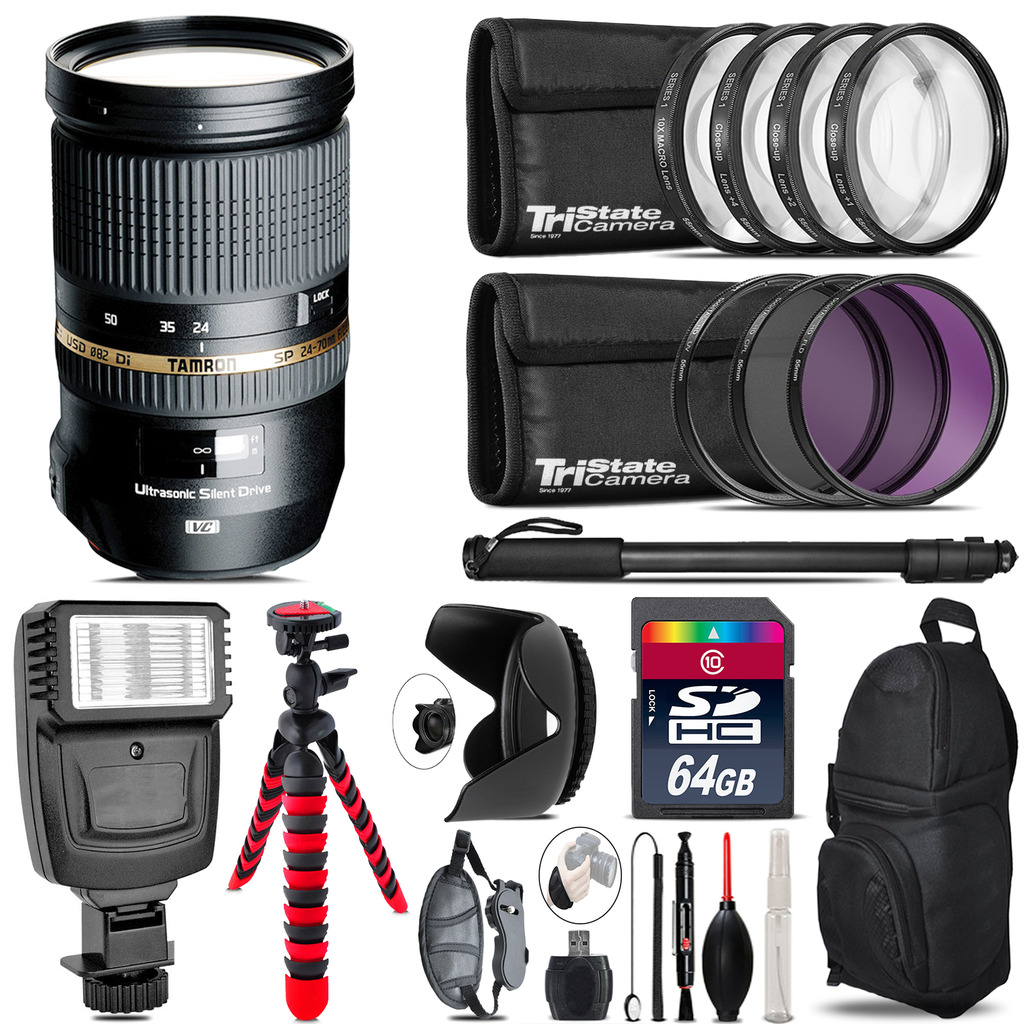 Tamron 24-70mm Lens for Canon + Flash +  Tripod & More - 64GB Accessory Kit *FREE SHIPPING*