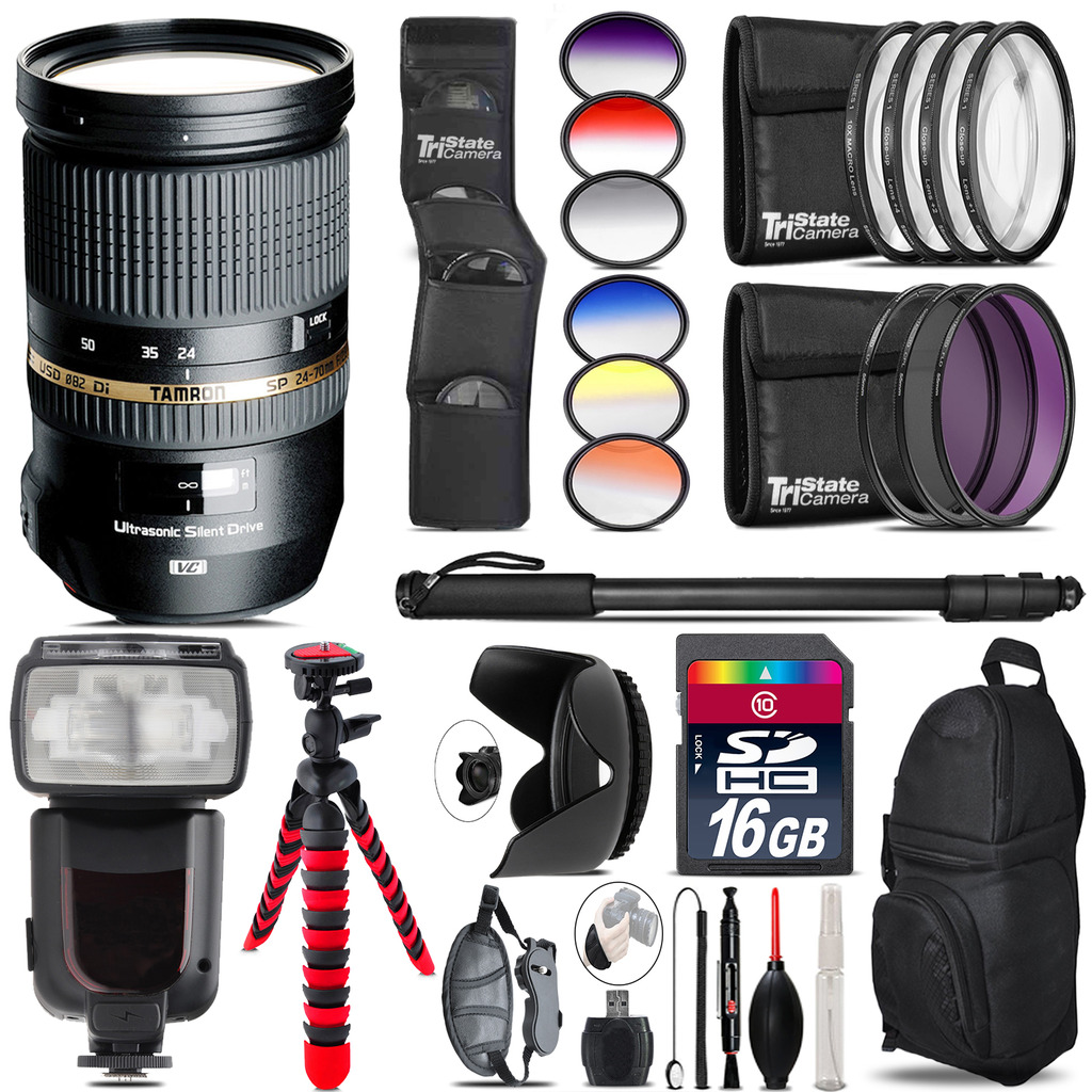 Tamron 24-70mm Lens for Canon + Pro Flash + Filter Kit - 16GB Accessory Kit *FREE SHIPPING*