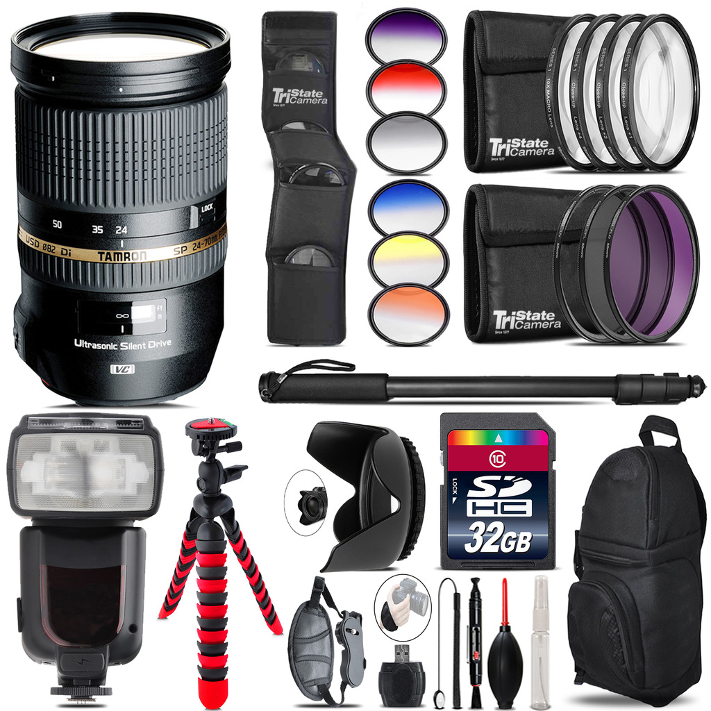 Tamron 24-70mm Lens for Canon + Pro Flash + Filter Kit - 32GB Accessory Kit *FREE SHIPPING*