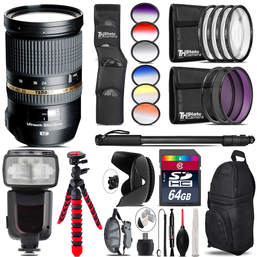 Tamron 24-70mm Lens for Canon + Pro Flash + Filter Kit - 64GB Accessory Kit *FREE SHIPPING*