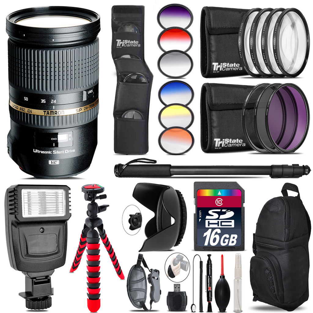 Tamron 24-70mm Lens for Canon + Flash + Color Filter Set - 16GB Accessory Kit *FREE SHIPPING*