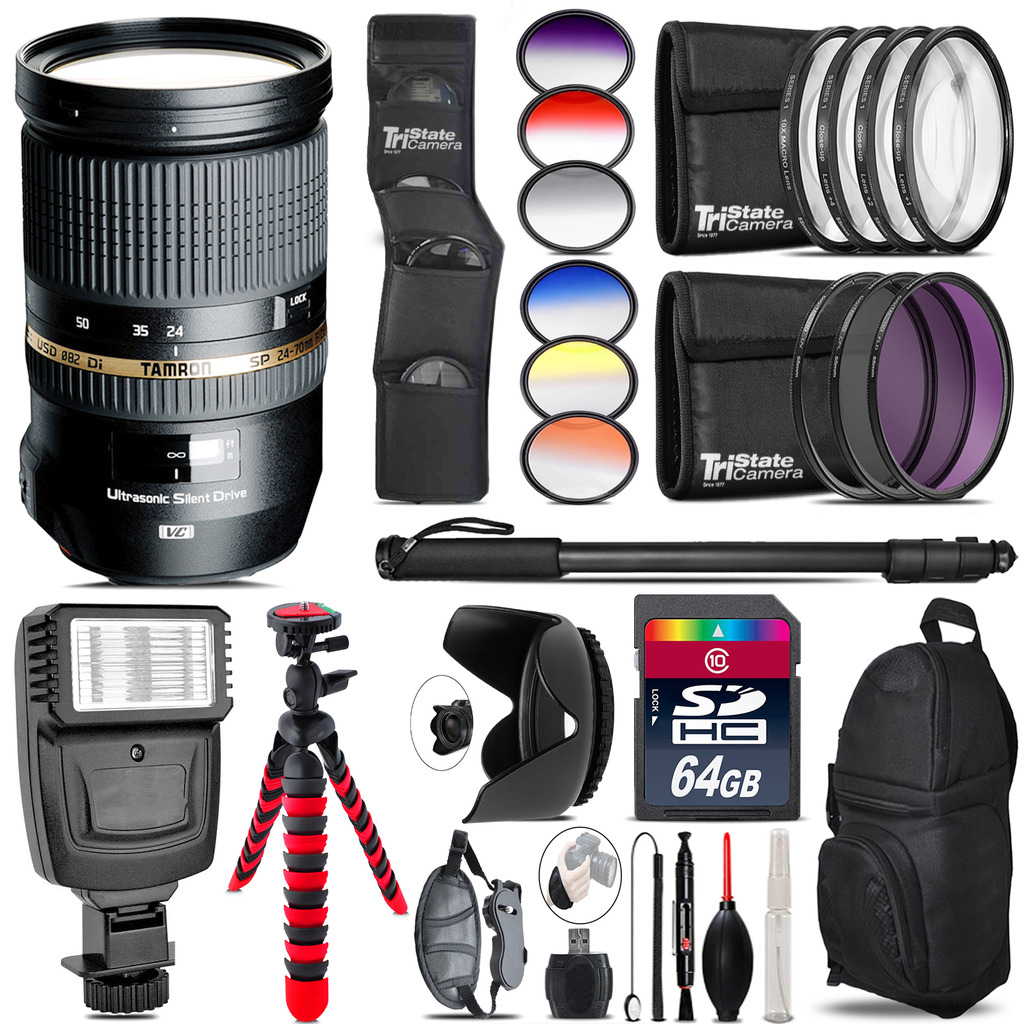Tamron 24-70mm Lens for Canon + Flash + Color Filter Set - 64GB Accessory Kit *FREE SHIPPING*