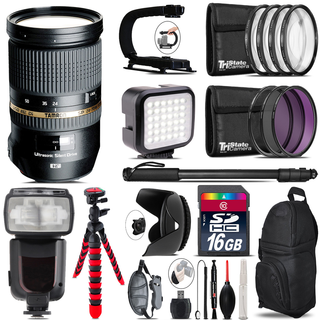 Tamron 24-70mm Lens for Canon - Video Kit + Pro Flash - 16GB Accessory Bundle *FREE SHIPPING*