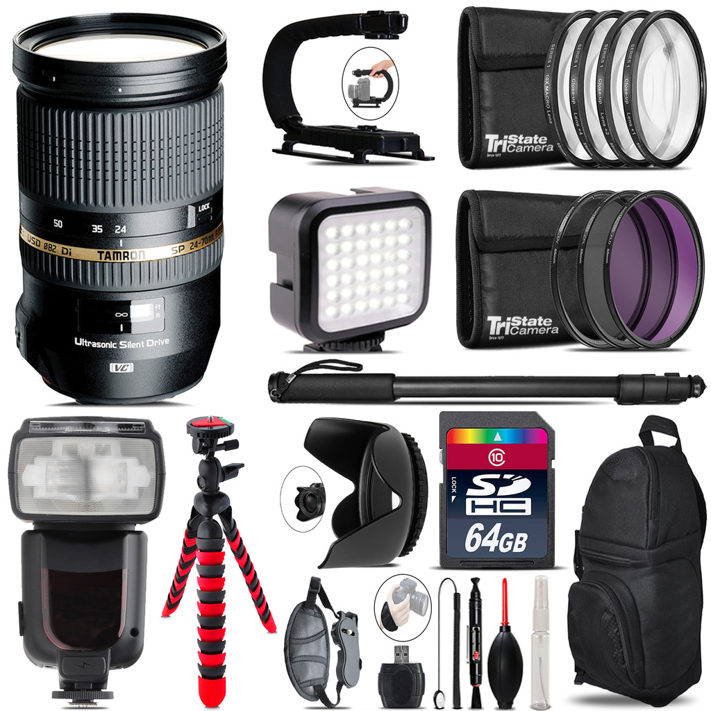 Tamron 24-70mm Lens for Canon - Video Kit + Pro Flash - 64GB Accessory Bundle *FREE SHIPPING*