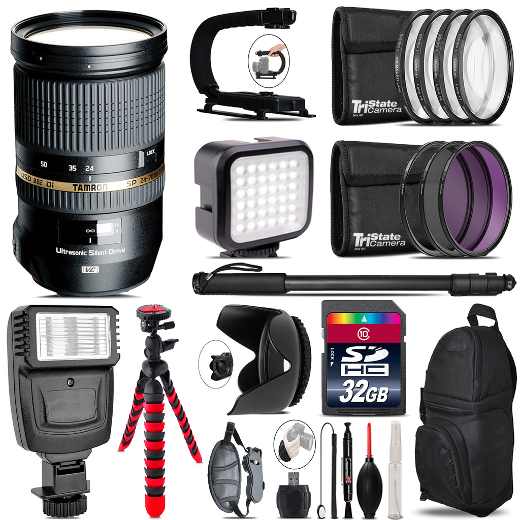 Tamron 24-70mm Lens for Canon - Video Kit +  Flash - 32GB Accessory Bundle *FREE SHIPPING*