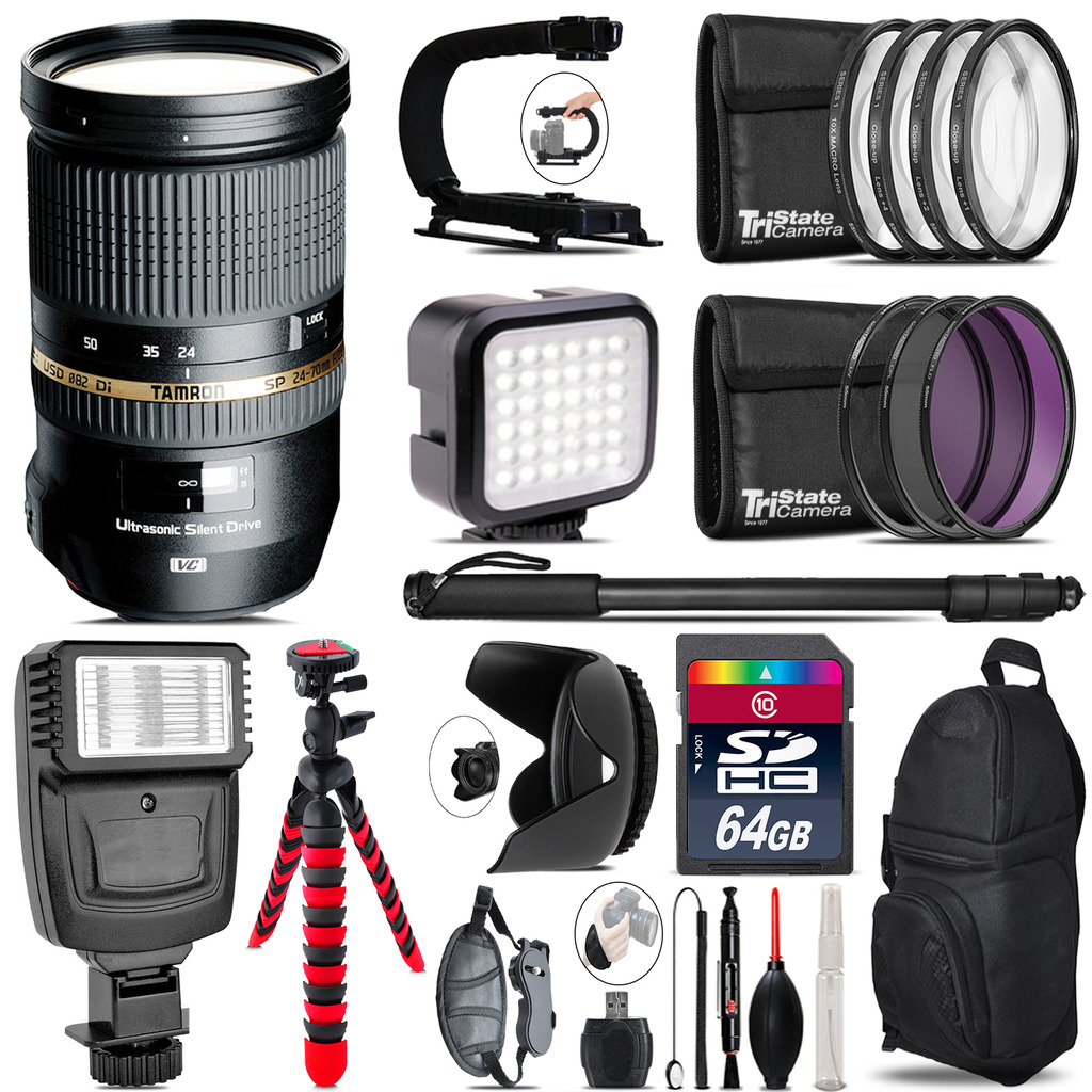 Tamron 24-70mm Lens for Canon - Video Kit +  Flash - 64GB Accessory Bundle *FREE SHIPPING*
