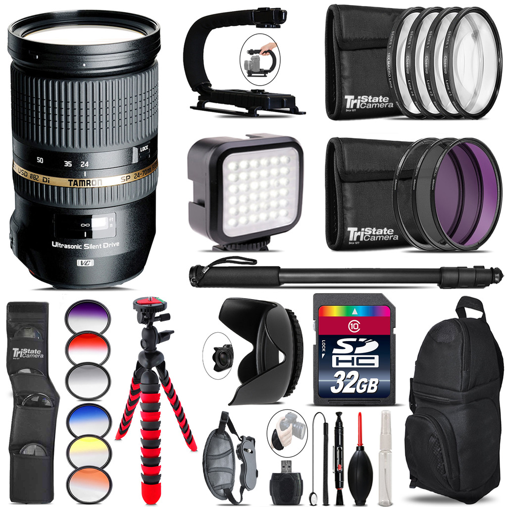 Tamron 24-70mm Lens for Canon - Video Kit + Color Filter - 32GB Accessory Kit *FREE SHIPPING*