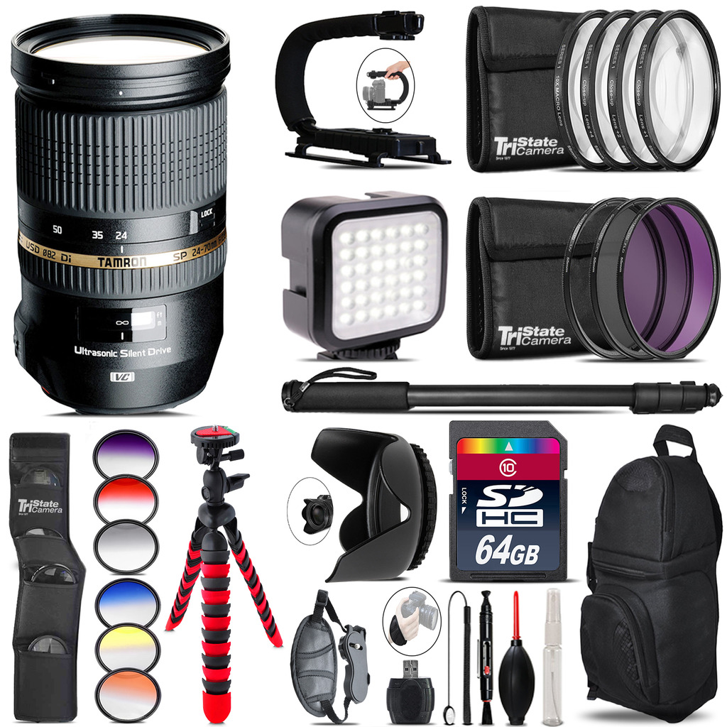 Tamron 24-70mm Lens for Canon - Video Kit + Color Filter - 64GB Accessory Kit *FREE SHIPPING*