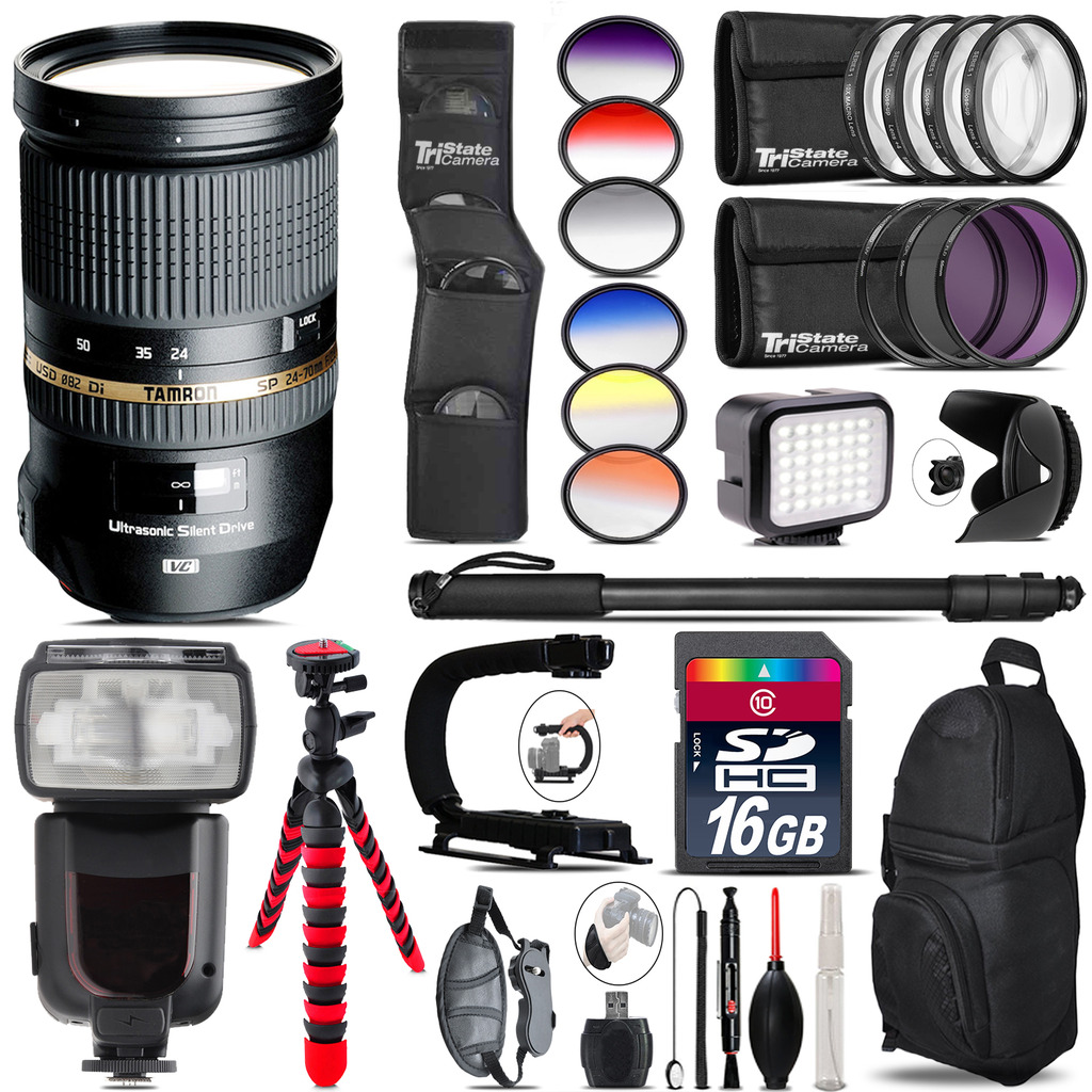 Tamron 24-70mm Lens for Canon + Pro Flash + LED Light - 16GB Accessory Bundle *FREE SHIPPING*