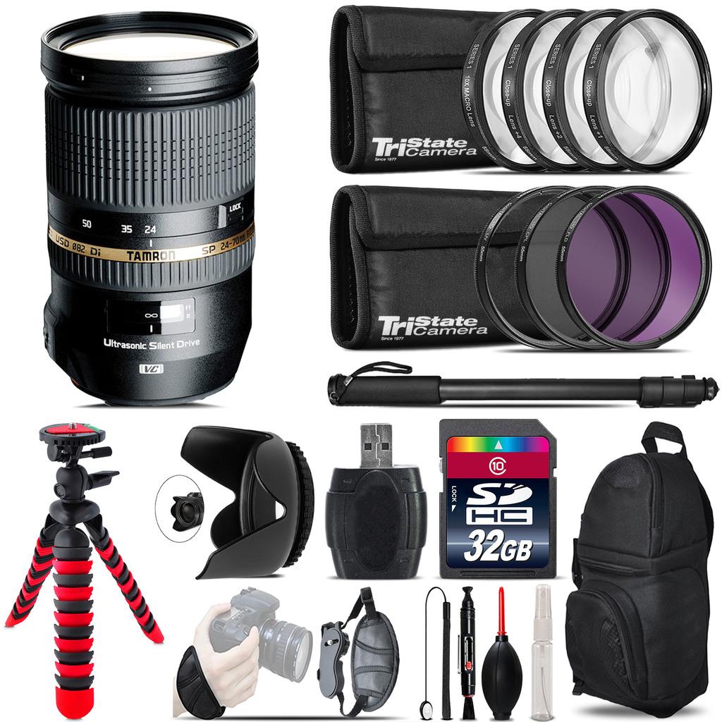 Tamron 24-70mm Lens for Nikon + Macro Filter Kit & More - 32GB Accessory Kit *FREE SHIPPING*