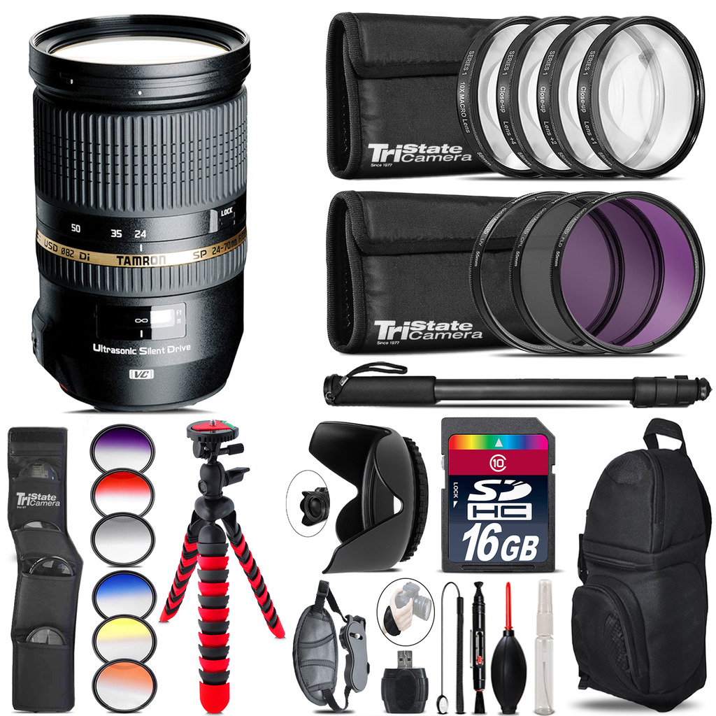 Tamron 24-70mm Lens for Nikon + Graduated Color Filter - 16GB Accessory Kit *FREE SHIPPING*