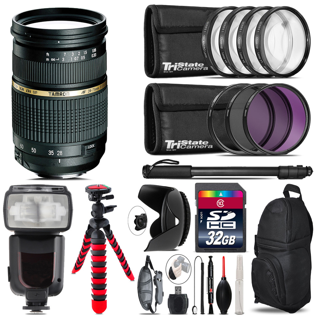 Tamron 28-75mm Lens for Canon + Professional Flash & More - 32GB Accessory Kit *FREE SHIPPING*