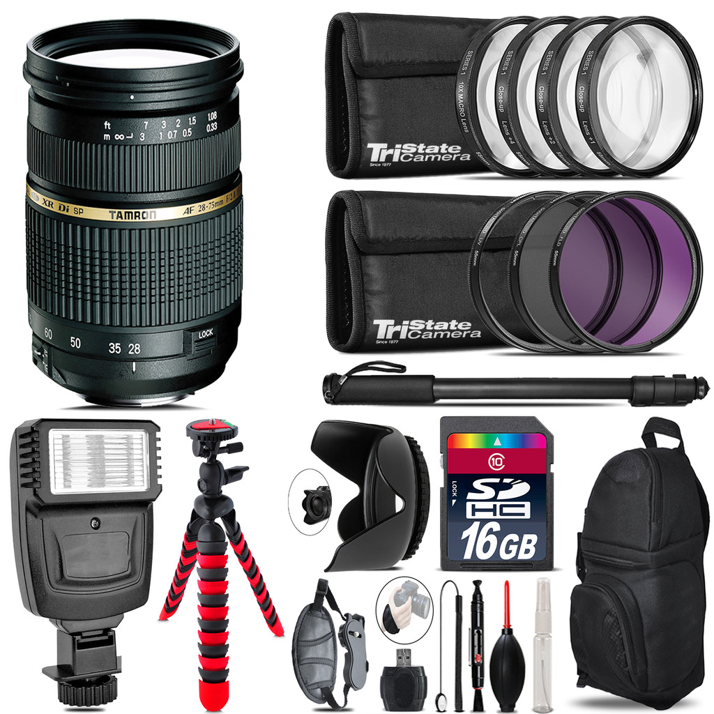 Tamron 28-75mm Lens for Canon + Flash +  Tripod & More - 16GB Accessory Kit *FREE SHIPPING*