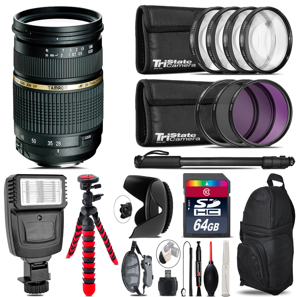 Tamron 28-75mm Lens for Canon + Flash +  Tripod & More - 64GB Accessory Kit *FREE SHIPPING*
