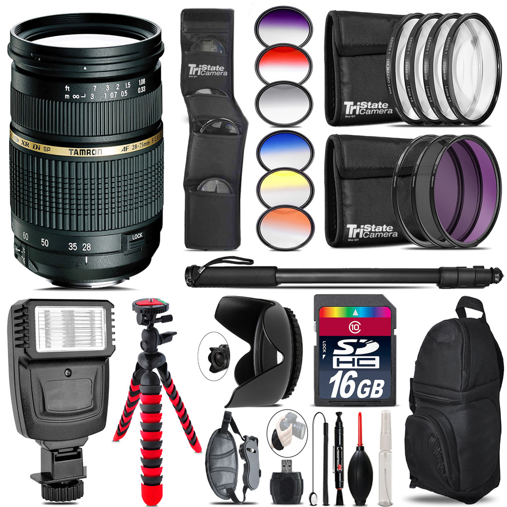 Tamron 28-75mm Lens for Canon + Flash + Color Filter Set - 16GB Accessory Kit *FREE SHIPPING*