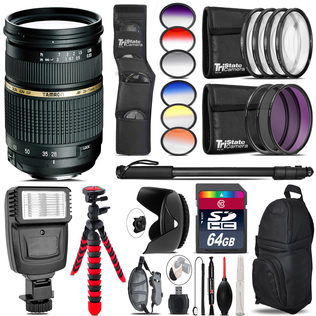 Tamron 28-75mm Lens for Canon + Flash + Color Filter Set - 64GB Accessory Kit *FREE SHIPPING*