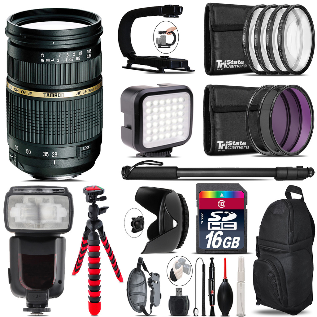 Tamron 28-75mm Lens for Canon - Video Kit + Pro Flash - 16GB Accessory Bundle *FREE SHIPPING*
