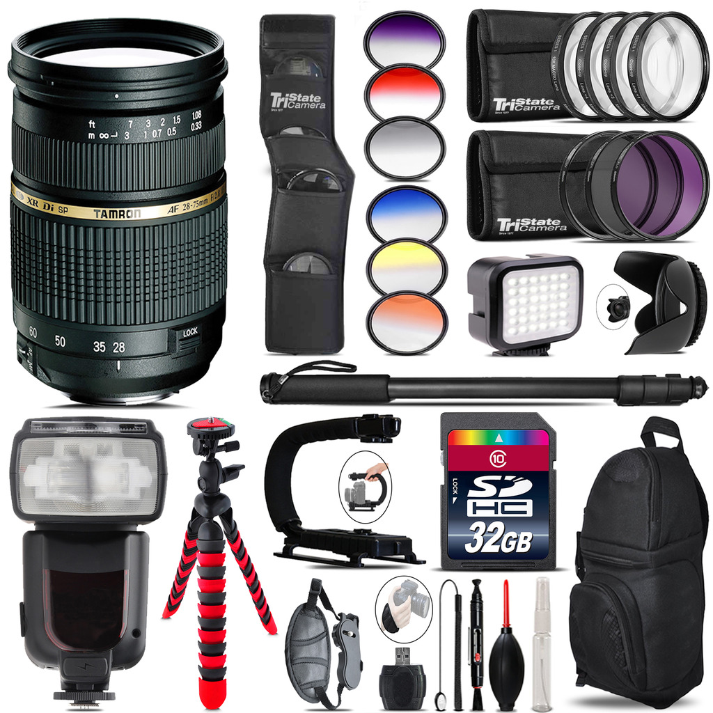 Tamron 28-75mm Lens for Canon + Pro Flash + LED Light - 32GB Accessory Bundle *FREE SHIPPING*