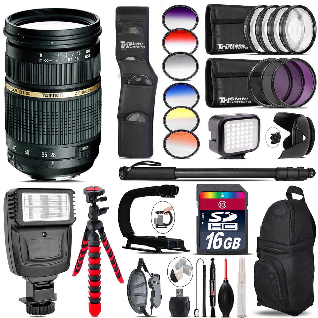 Tamron 28-75mm Lens for Canon + Color Set + LED Light - 16GB Accessory Bundle *FREE SHIPPING*