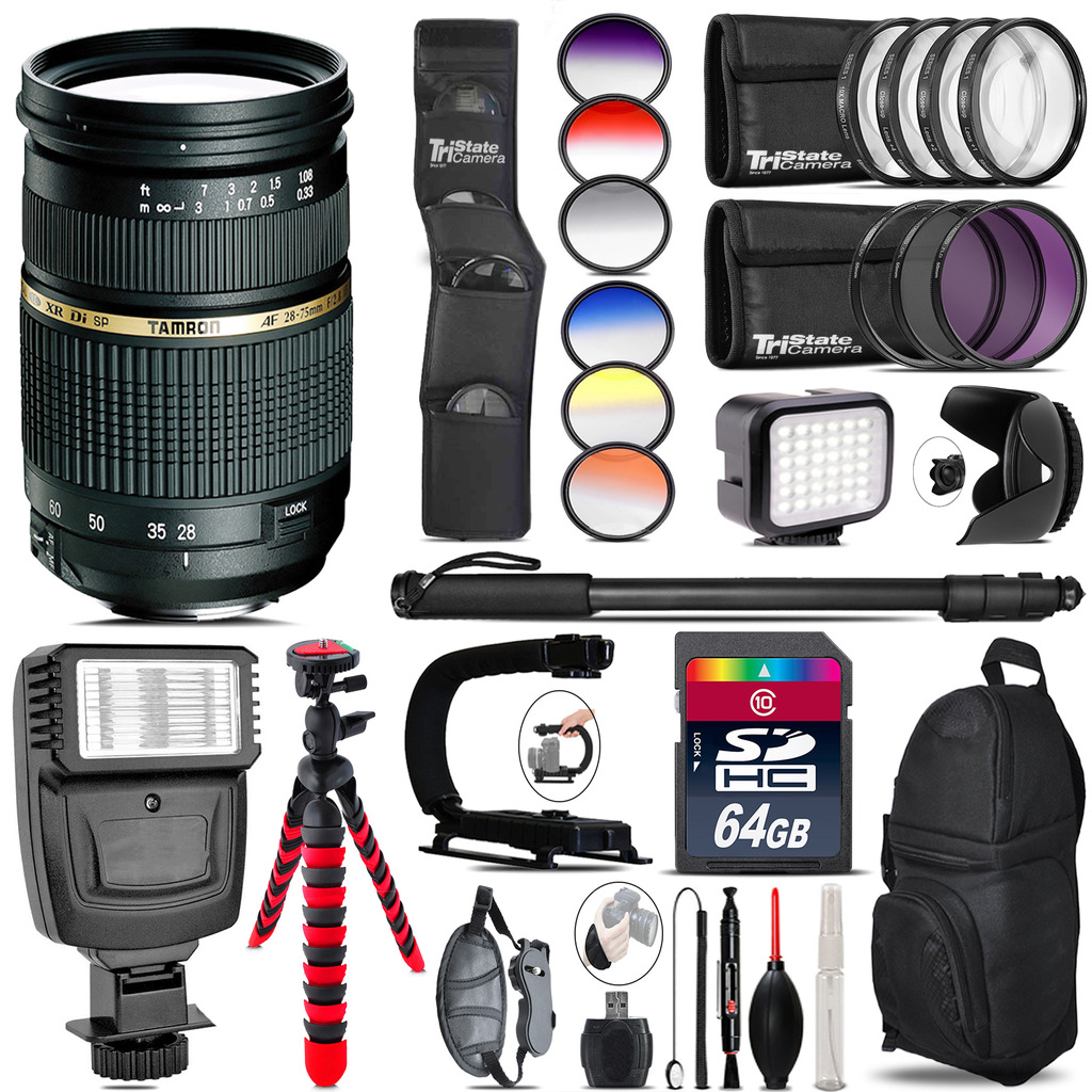 Tamron 28-75mm Lens for Canon + Color Set + LED Light - 64GB Accessory Bundle *FREE SHIPPING*
