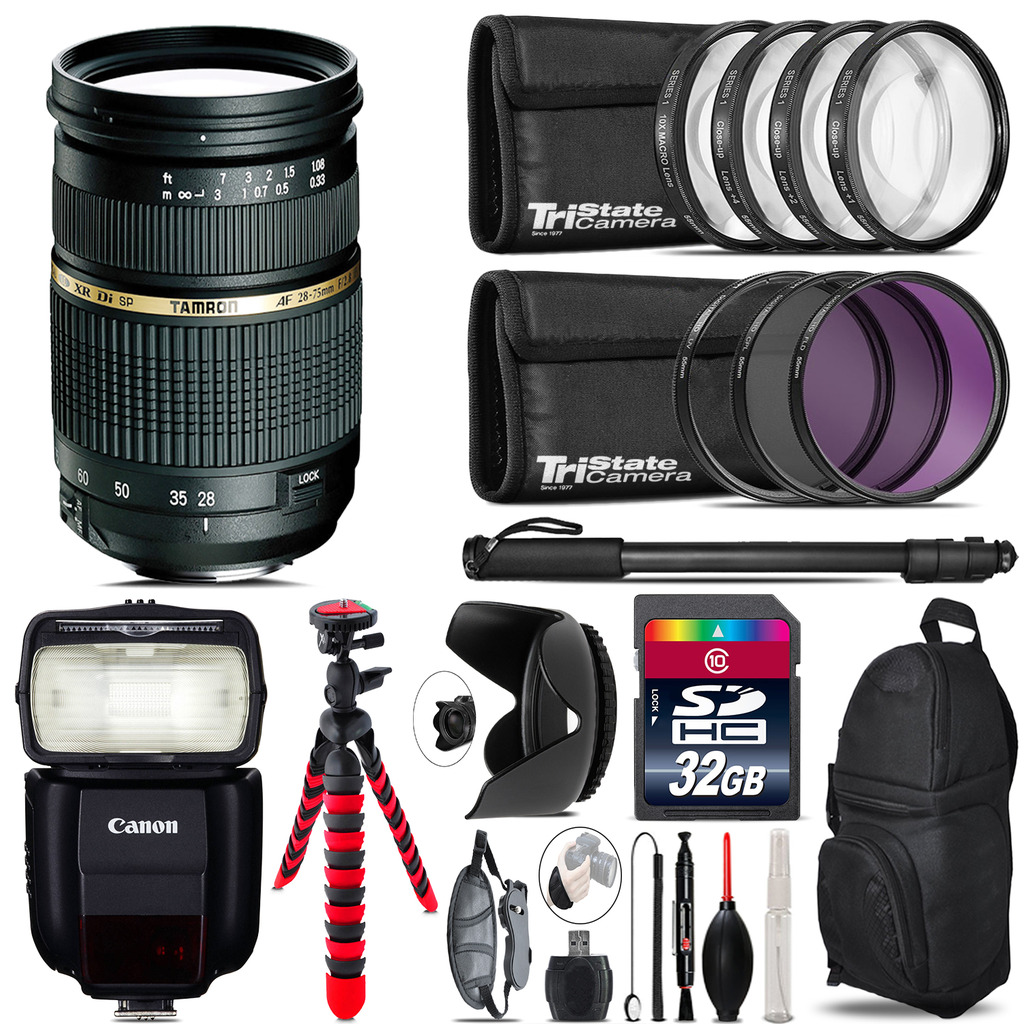 Tamron 28-75mm Lens for Canon + Speedlite 430EX III-RT  & More - 32GB Kit *FREE SHIPPING*