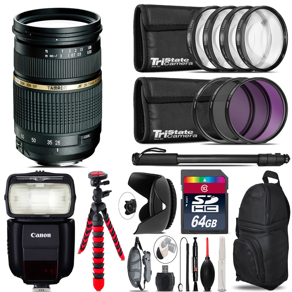 Tamron 28-75mm Lens for Canon + Speedlite 430EX III-RT  & More - 64GB Kit *FREE SHIPPING*